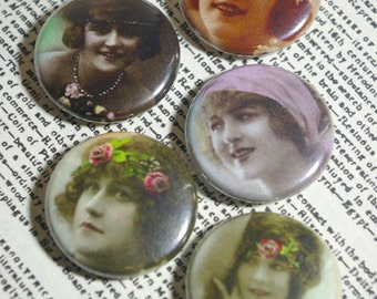 Headband Fashions  - Set of 5 Pin Back Buttons