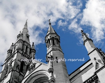 St. Peter's Church, Drogheda Co. Louth, IRELAND Photography, Spires in the Sky, European Cathedral, Catholic, Photo Looking Up, Blue Skies