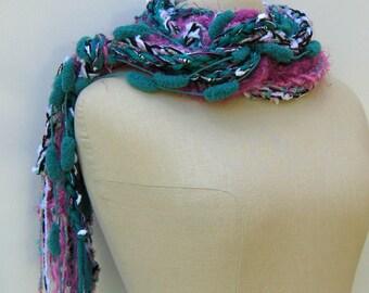 Sale Ultramarine magenta braids Gypsy Fringe Scarf skinny lariat Hippie neck wear