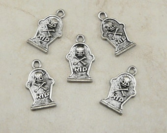5 RIP Rest In Peace Tomb Stone Tombstone Halloween Charms > Grave Gravestone - American Made Lead Free Silver Pewter I ship Internationally