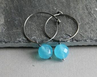 Aqua Blue Quartz & Sterling Silver Hoop Earrings Fashion under 25