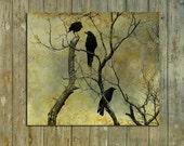 Crows Photograph Art, Ravens Fine Art Print, Little Crow, Silver Halide Crow Print - I Know A Secret