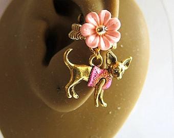 Chihuahua Earrings, Dog Ear Cuff, Pet Ear Cuff, Animal Lover Earrings, Chihuahua Dog Jewelry, Dog Lovers Jewelry, Dog Earrings Jewelry