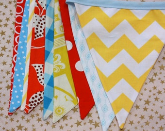 Circus Bunting, Carnival Themed Ready to Ship Fabric Flag Birthday Party Bunting, Designer's Choice Gender Neutral Banner, Photography Prop.