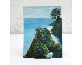 Tiny Little Seascape Painting of Mendocino natural Arch - Painting by Fred H. Koch