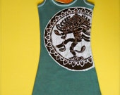 Yoga tank top Shiva batik hand drawn hand painted & hand dyed women teal green