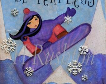 Snowboarder Girl Art,  Snowboard Decor, Tween Girls Room, Teen Wall Art, Mixed Media 8 x 10 by HRushton