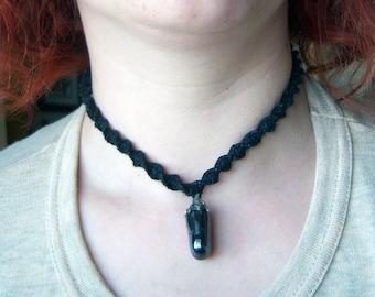 Black Hemp Choker with Hematite Pendant
