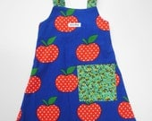 Girls Dress - Pinwale Corduroy Polka Dot Apple Pocket - Size 3 (3T)