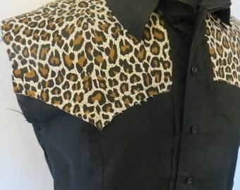 Western Trash Leopard sleeveless Shirt Supernal Clothing Menwear rockabilly surf psychobilly punk goth gothic costume western  rocker