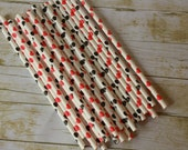 30 Queen of Hearts Party Straws -- Alice in Wonderland -- Black and Red Hearts Paper