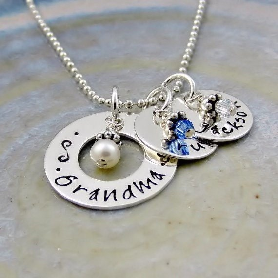 Personalized grandma necklace grandmother jewelry for Grandmother jewelry you can add to