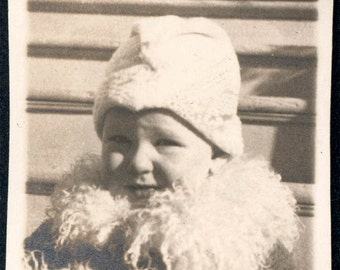vintage photo Baby Girl Wearing Fur Collar And Muff