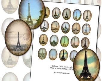 Eiffel Tower 30mm x 40mm oval digital collage sheet Paris France altered art 1.18 in x 1.57 30x40 3x4 cm