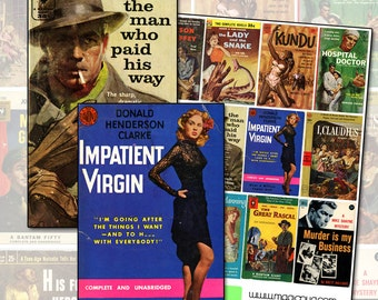 Vintage Pulp Fiction Paperback Novel Covers digital collage sheet No 3 doctor book detective crime noir blue yellow red  femme fatale