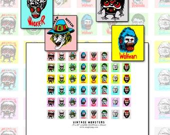 Vintage 60's 70's Monsters scrabble size digital collage sheet .75 x .83 19mm x 21mm kitsch retro pop art color