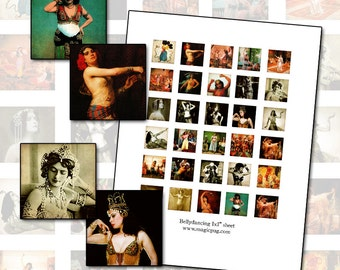 Bellydance 1x1 inch digital collage sheet inchies 25mm square for altered art mixed media jewelry scrapbooking and more 25.4 mm 1x1 inch
