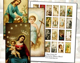 Antique Catholic Holy Cards IV  Digital Collage 1x2 domino size for altered art collage mixed media shrines 25mm x 50mm rectangle