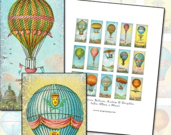 Antique Hot Air Balloons and Air Ships domino digital collage sheet 1x2 inch 25mm x 50mm