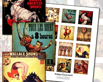 Antique Circus Posters II 2x2 inch digital collage sheet 50mm square acrobat lion donkey clowns tigers show