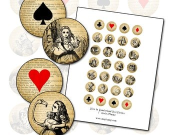 """Alice in Wonderland 1"""" circles 25.4mm 25mm round with playing card suits altered art inchies badge pinback bottlecap"""