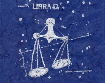 Libra Constellation Linocut in White on Blue - Constellations of the Zodiac Lino Block Print Collection, Star Map, Libra the Scales