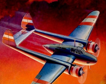 Sale 12X18 FIRE in the SKY Fokker G-1 a P-38 styled Airplane Pulp WwII 30s illustration Famous Fighter Aircraft 2nd World War Aviation pinup