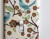 Light Switch Plate Cover, wall decor - cream with blue birds, brown flowers