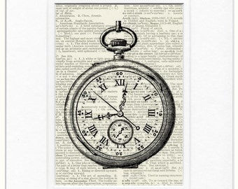 Pocket Watch II dictionary page print
