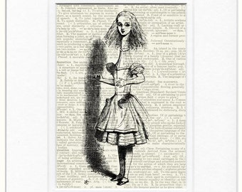 Alice in Wonderland and the telescope print