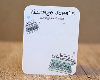 Custom Earring Cards Vintage Typewriter Jewelry Display Cards Personalized