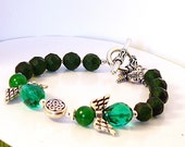 Angel Bracelet - Green Bracelet - Emerald Green Angel Bracelet - Green Sun Catcher - Celtic Angel Sun Catcher - B2013-11