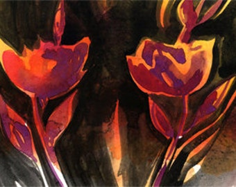 """Flower painting, Abstract Floral Art, Black Pink, Orange, Red Poppy Minimalist, Original Painting """"Four Blooms"""" by Kathy Morton Stanion EBSQ"""