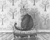 Cheshire Cat Art Print Alice in Wonderland Art Fantasy Cat Art Gothic Art Victorian Art Fairy Tale Art 8x10