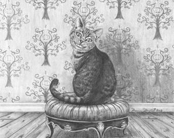 Cheshire Cat Art Alice in Wonderland Art 11x14 Fantasy Art Wall Art