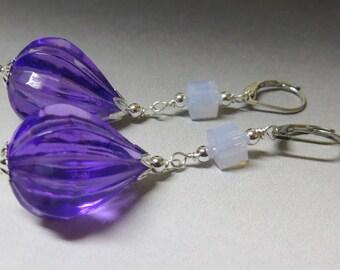 Purple Teardrop Swarovski Crystal Earrings // Silver Earrings