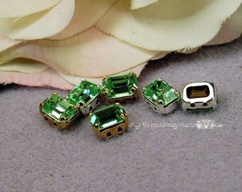 Chrysolite Vintage Swarovski Crystal 8x6mm Octagon 4570 With Prong Setting Sew On Crystal Sew On Craft Supplies Jewelry Making