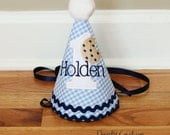Boy First Birthday Hat - Cookie and Milk theme - Blue gingham and white - Free personalization