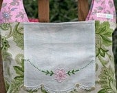 Shabby Pink and Sage Green Cotton and Vintage Doily  .. Flea Market or Grocery Shopping Market Tote Bag
