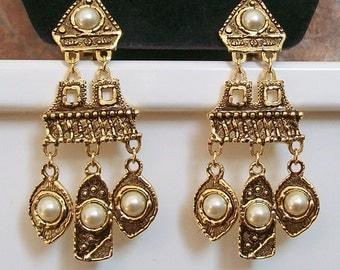 Vintage Etruscan Earrings, Articulated Jewelry, Runway Earrings, Statement Jewelry, Big Earrings, Dangly Earrings, Faux Pearl Earrings