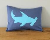 Hammerhead Shark Applique Pillow Cover. Slate Gray and Aqua. Customizable.