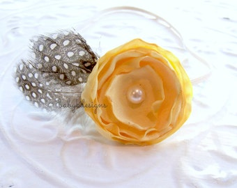 Yellow Newborn Headband / Baby Girls Headband ANISTON Satin Flower Feather Elastic Headband More Colors Pink Teal Red White Coral Grey Ivory