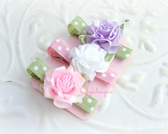 Hair Clips / Baby Bows / Baby Clips/  Girls Pink White and Lilac Trio of Cabbage Rose No Slip Baby Snap Clips
