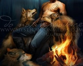 Sebastian... Print...Sexy Male Wolf pack Protector... Fire... Night...Full Moon...Shape Shifters