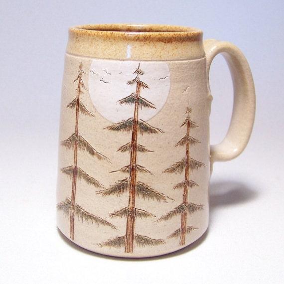 Pine Tree and Moon Pottery Mega Coffee Mug Limited Series 102  (microwave safe) 24oz