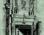 Digital Download Fireplace graphic, digi stamp, digis, digital stamp, Antique Illustration, Ornate and Elegant
