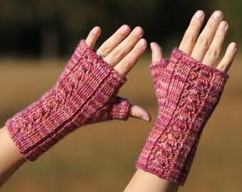 PDF knitting pattern fingerless gloves, mitts, mittens, lace, aran: Warm Hello