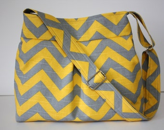 Yellow and Gray Chevron Handbag / Adjustable Strap
