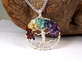 Tree of Life necklace pendant with chain - Garnet Citrine Aquamarine Iolite Amethyst - Non tarnish silver alloy - rainbow tree of life