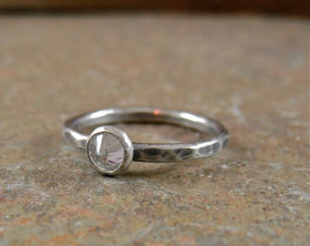 Cubic Zirconia Ring, Thin Band Silver Promise Ring, Alternative Engagement Ring, April Birthstone Ring, Affordable Bridal Rings